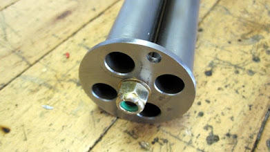 Photo: Lock nut at the muzzle end. Final assembly will utilize a UHMW washer