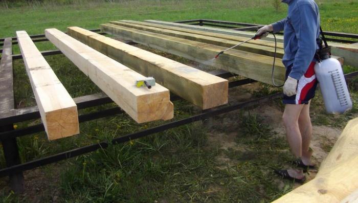 Деревянный фундамент обработка
