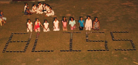Photo: Formation of word 'BLISS' with plates by Rugved girls