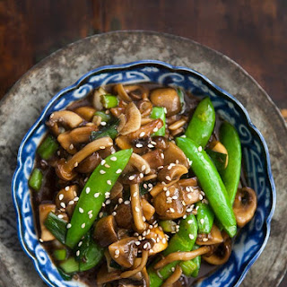 Mushroom Stir Fry with Peas and Green Onions.