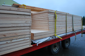 Photo: All The large custom sandwich panels for this Tiny House, packed and ready to travel.