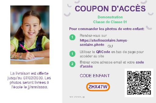 coupon acces vnete photo scolaire en ligne