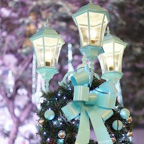 Blue Blue Christmas by Alice Chia - Public Holidays Christmas ( ball, tinsel, blue, ribbon, bulb, street, christmas, street lamp, light,  )