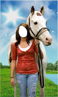 Horse With Girl Photo Suit New - náhled
