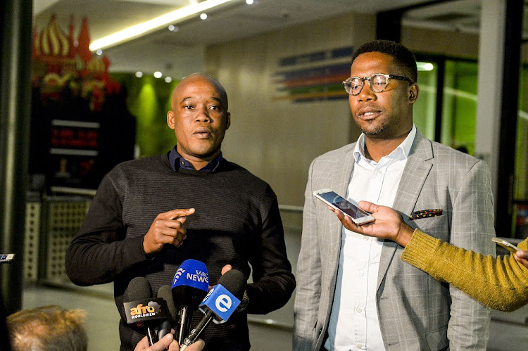 Walkout: SuperSport CEO Gideon Khobane, right, and MultiChoice CEO Calvo Mawela speak to reporters in Johannesburg on Monday about SuperSport rugby analyst Ashwin Willemse's walkout during a live broadcast on Saturday. Picture: SYDNEY SESHIBEDI/GALLO IMAGES
