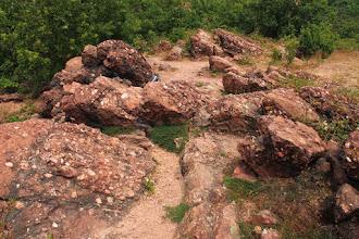 Photo: A Czana-domb konglomerátum-rétegei D felé dőlnek, a rétegfejek pedig É felé, a Jakab-hegy irányába mutatnak