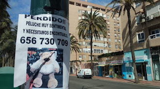 Cartel pegado en un semáforo de la avenida de Cabo de Gata.