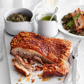 Smoked Salt-crusted Pork With Lentils and Caper Sauce.