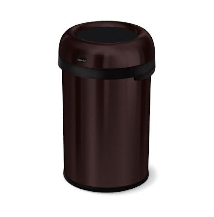 Öppen kulformad soptunna 115 liter, mörk brons stål