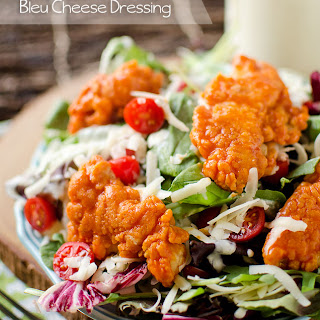 Light Buffalo Chicken Salad with Creamy Greek Yogurt Bleu Cheese