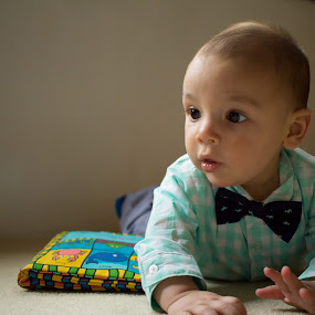Green shirt and bow tie  by Marco Vergara - Babies & Children Babies ( natural light, bow tie, window light, baby, baby boy )