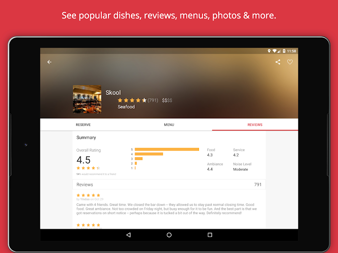 Screenshot 9 for OpenTable's Android app'
