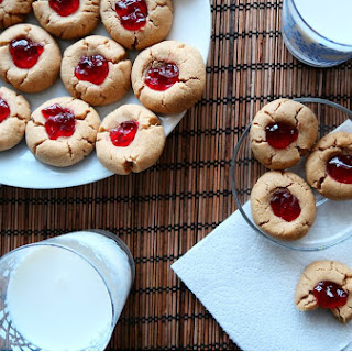 Peanut Butter and Jelly Thumbprint Cookies.