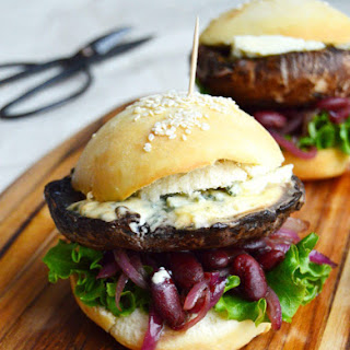 Portobello Mushroom Burger with Blue Cheese and Caramelized Onions.