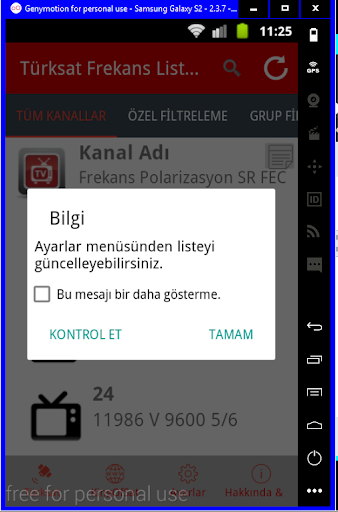 Turksat Frequency List screenshot 1
