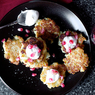 Cauliflower-Feta Fritters with Smoky Yogurt, Pomegranate.