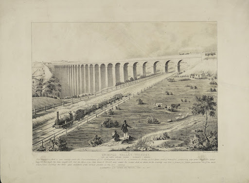 "Lithograph, ""Crimple Valley Viaduct"""
