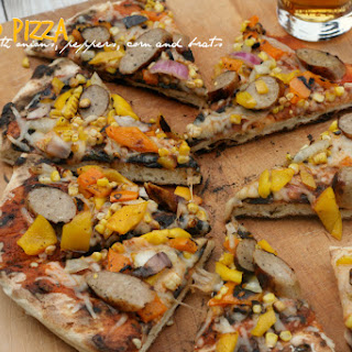 Grilled Pizza w/ Onions, Peppers, Corn, and Brats.