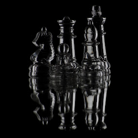 Glass Chess by H. Ava-Lyn Smith - Artistic Objects Glass ( stills, studio, studio lighting, oil water artt photography, bishop, queen, chess, glass, king, pawn, knight )