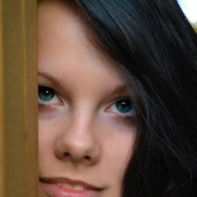 Hide and Seek by Ellason Boyle - People Portraits of Women ( girl, shelby, portraits, hair, people, outside, black, eyes )
