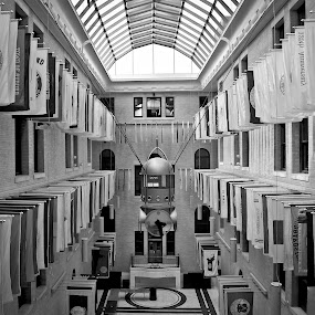 massachusetts state house great hall of flags by Carlo Resty Sunga - Buildings & Architecture Other Interior ( black and white, interior, building, monotone, b&w, portrait, people, city, photography )