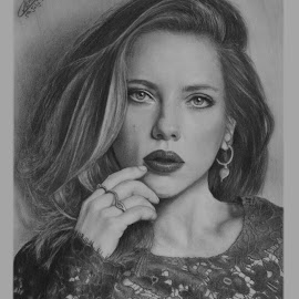 Scarlett by Ashwini Dey - Drawing All Drawing ( actress, art, ashwini dey, scarlett, johansson, scarlett johansson, drawing, sketch, pencil, portrait )