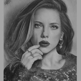 Scarlett by Ashwini Dey - Drawing All Drawing ( actress, art, ashwini dey, scarlett, johansson, scarlett johansson, drawing, sketch, pencil, portrait )
