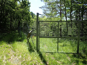 ここは左の林道を進む(柵の先は地図の道)