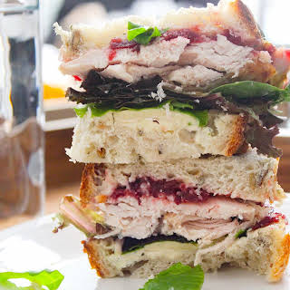 Leftover Turkey, Cranberry Sauce and Blue Cheese Sandwich.