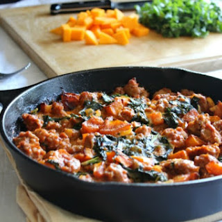 Paleo Butternut Sausage Bake with Kale
