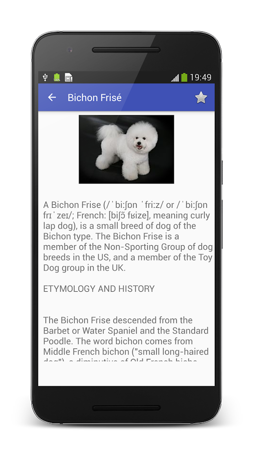 Dog Breeds Encyclopedia: captura de pantalla