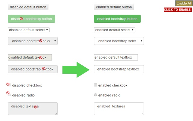 Enable all disabled buttons and inputs