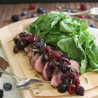 Cocoa Spiced Rubbed Pork Tenderloin With Crimini Berry Sauce