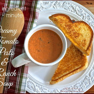 5-INGREDIENT 5-MINUTE CREAMY TOMATO, PESTO & RANCH SOUP.