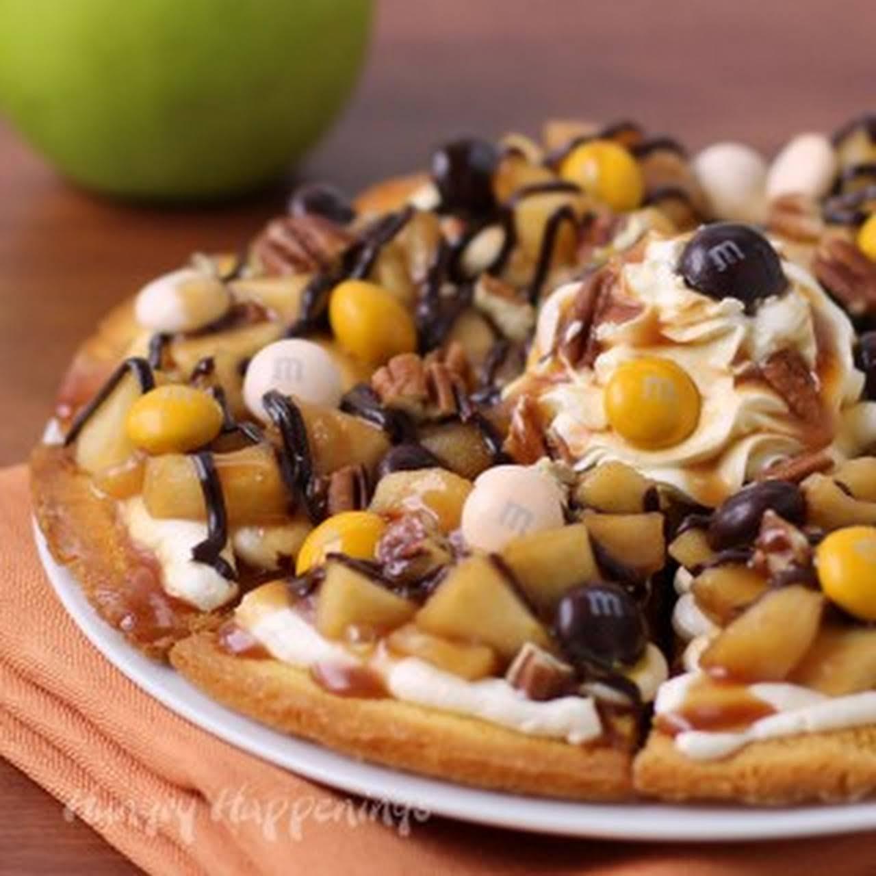 Caramel Apple Cake Chip Nachos Topped with M&Ms® Pecan Pie