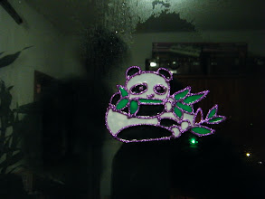 Photo: warrenzh 朱楚甲's works: color embedding in a panda sculpture, art work made in year end celebrating, in mom's accompany. mom put it on windows like a decoration. dad shot it, in which my shadow in it.
