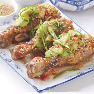 Chicken Satay with Cucumber Salad.