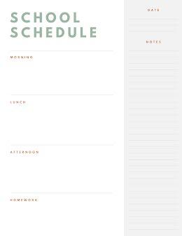 Simple School Day Schedule - Class Schedule item