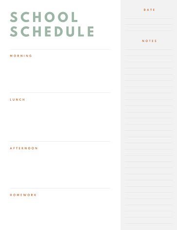 Simple School Day Schedule - Planner Template
