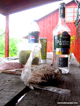 Photo: Typical Russian vodka chasers: Sala (smoked and peppered pork fat), ham, pickles, and hot mustard