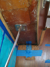 Photo: port salon overhead sanded and ready for new tabbing along bulkhead and above cabinets