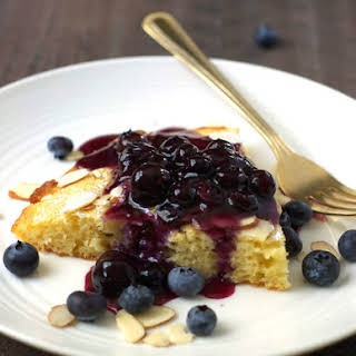 Oven-Baked Skillet Pancake with Blueberry Sauce.