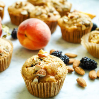 Peach Blackberry muffins (dairy-free, low-gluten with gluten-free option)
