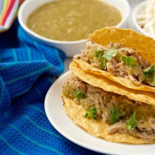 Slow Cooker Salsa Verde Pork Tacos.