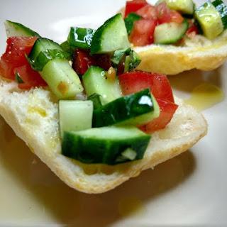 Cucumber, Tomato and Basil on Ciabatta Bread.