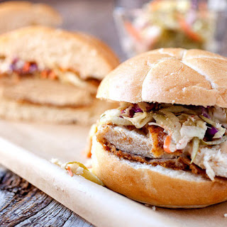 Crispy Baked Chicken Sandwich with Dill Pickle Slaw.