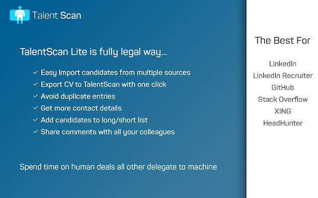 TalentScan Lite import resume from LI, GH     - Chrome Web Store