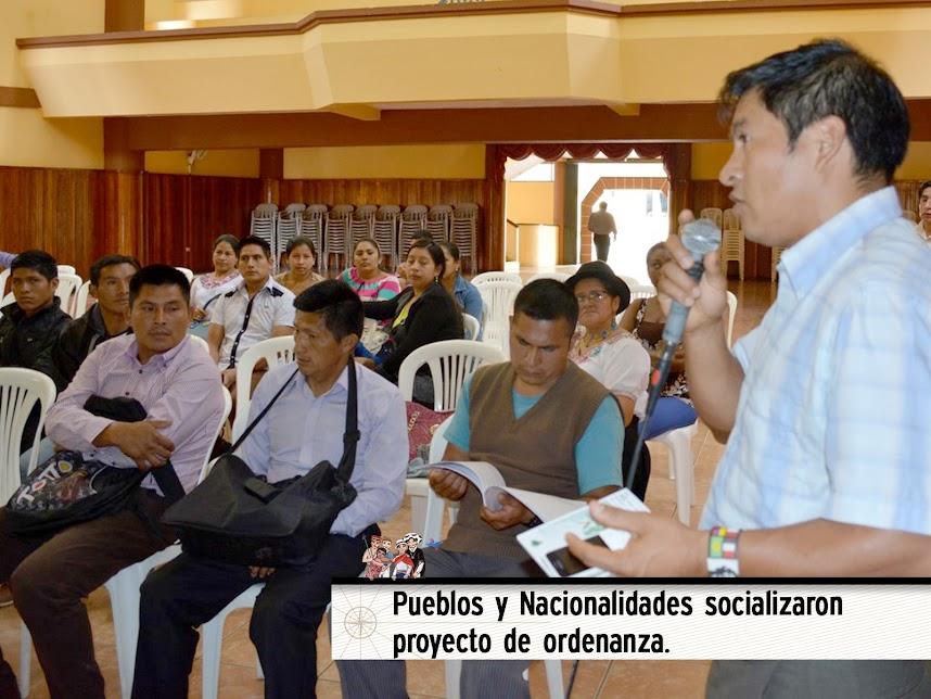 PUEBLOS Y NACIONALIDADES SOCIALIZARON PROYECTO DE ORDENANZA.