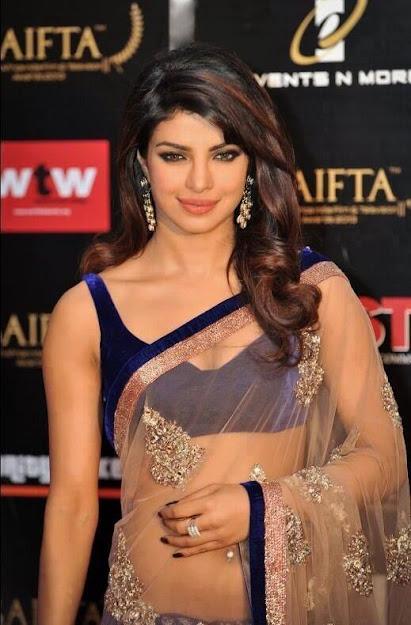 Priyanka Chopra belly button in saree, Priyanka Chopra in transparent saree