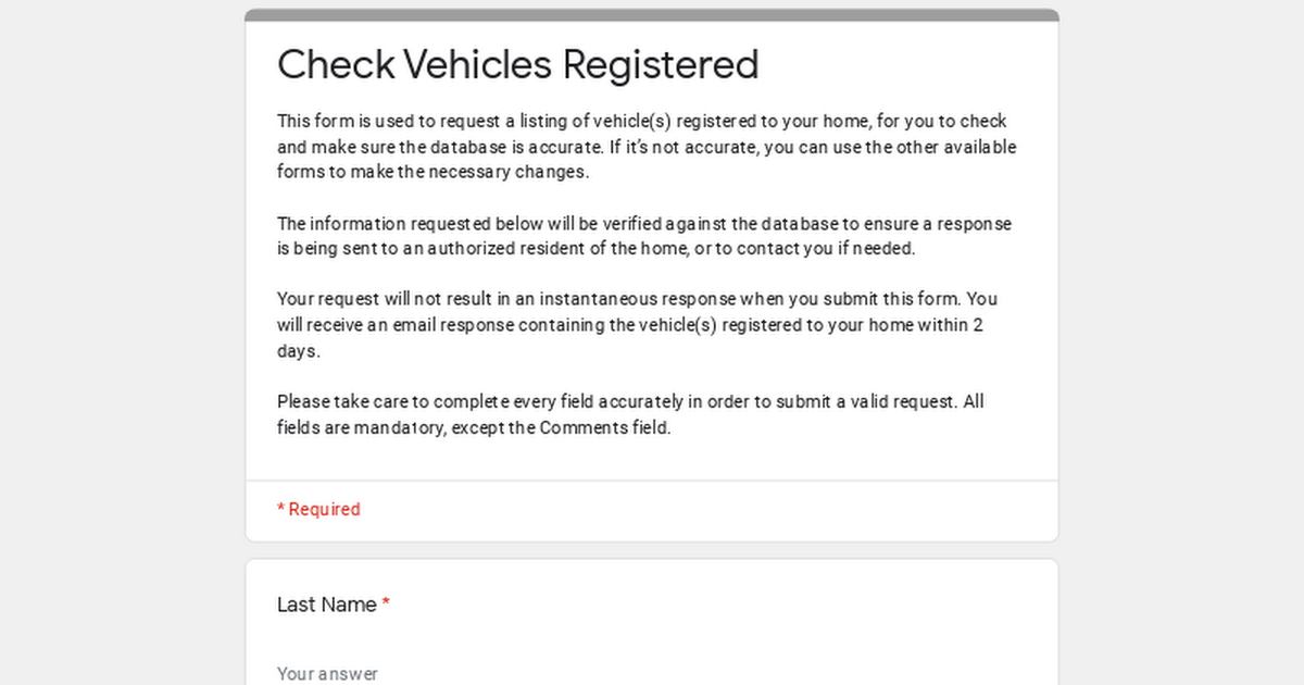 Check Vehicles Registered